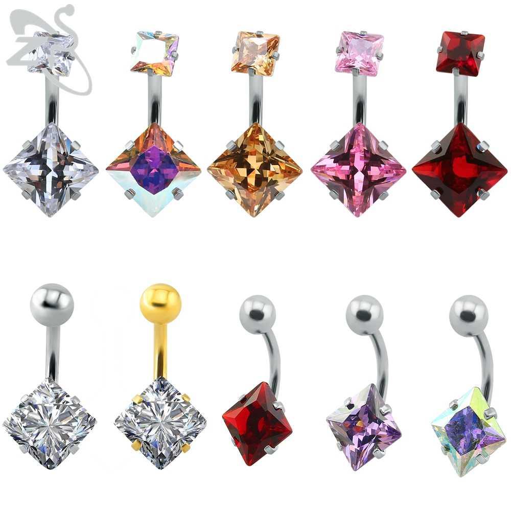 ZS coloridos anillos de ombligo de estilo indio para mujer, Cubo de Zirconia, joyería corporal, acero inoxidable, joyeria para mujer