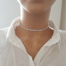 Женское колье-чокер Baquette, серебряное ожерелье из стерлингового серебра 925 пробы, Сделано в Турции