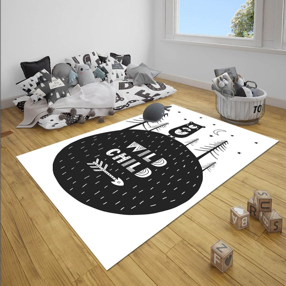 Else Black White Jungle Bear Wild Life  Unisex 3d Print Non Slip Microfiber Children Baby Kids Room Decorative Area Rug Mat