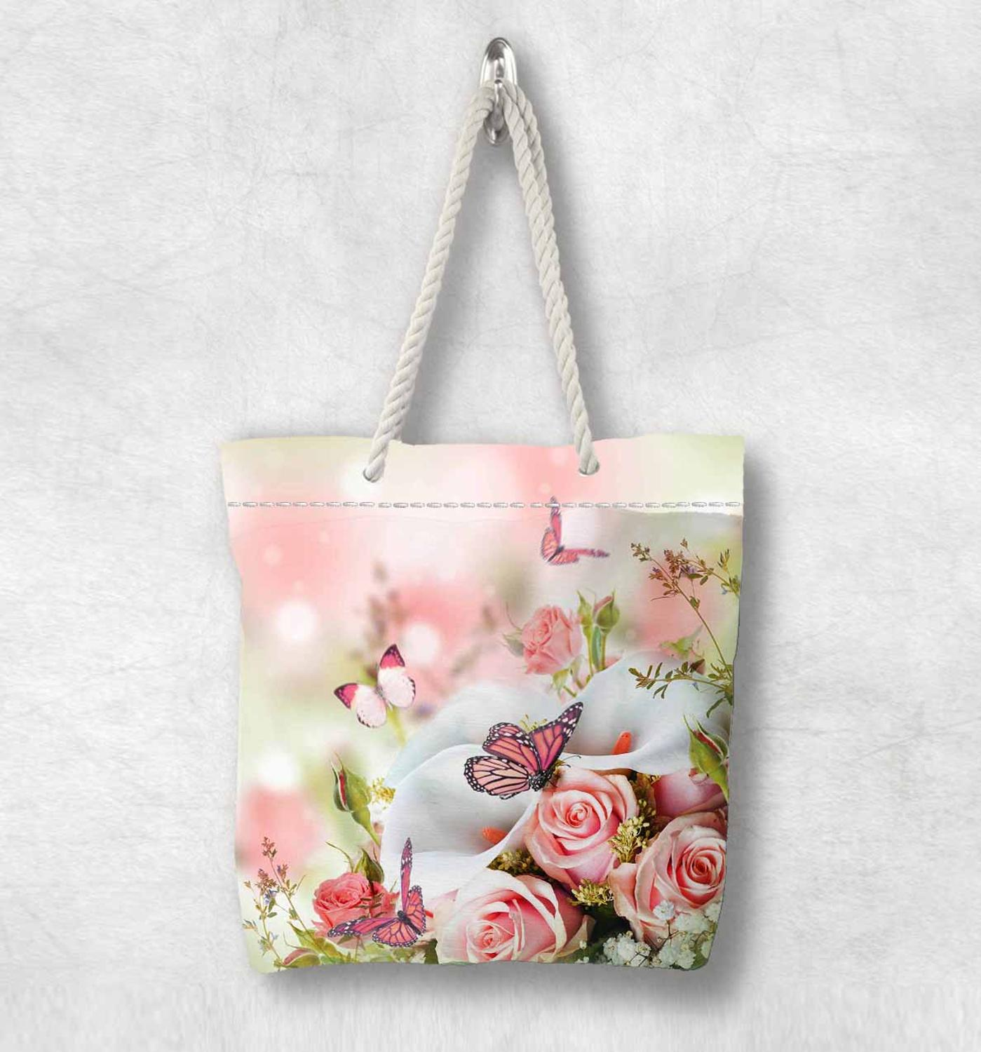 Else Pink Roses Flowers Floral Butterfly White Rope Handle Canvas Bag Cotton Canvas Zippered Tote Bag Shoulder Bag