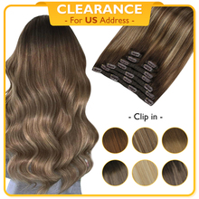 Hair-Extensions Human-Hair Straight Clip-In Remy Natural Real Brazilian-Machine Double-Wefted
