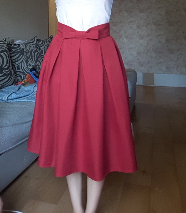Causual Bow Pleated Women Skater Skirts Knee Length Winter High Waist Ladies Solid Black Ball Gown Saia S Xxl photo review
