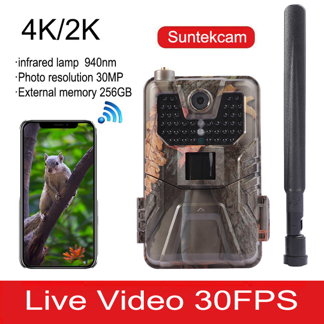 4K 30FPS Live Video Hunting Trail Camera 4G MMS 30MP Infrared Wildlife Surveillance Camera Night Vision Photo Trap Cloud Service 1