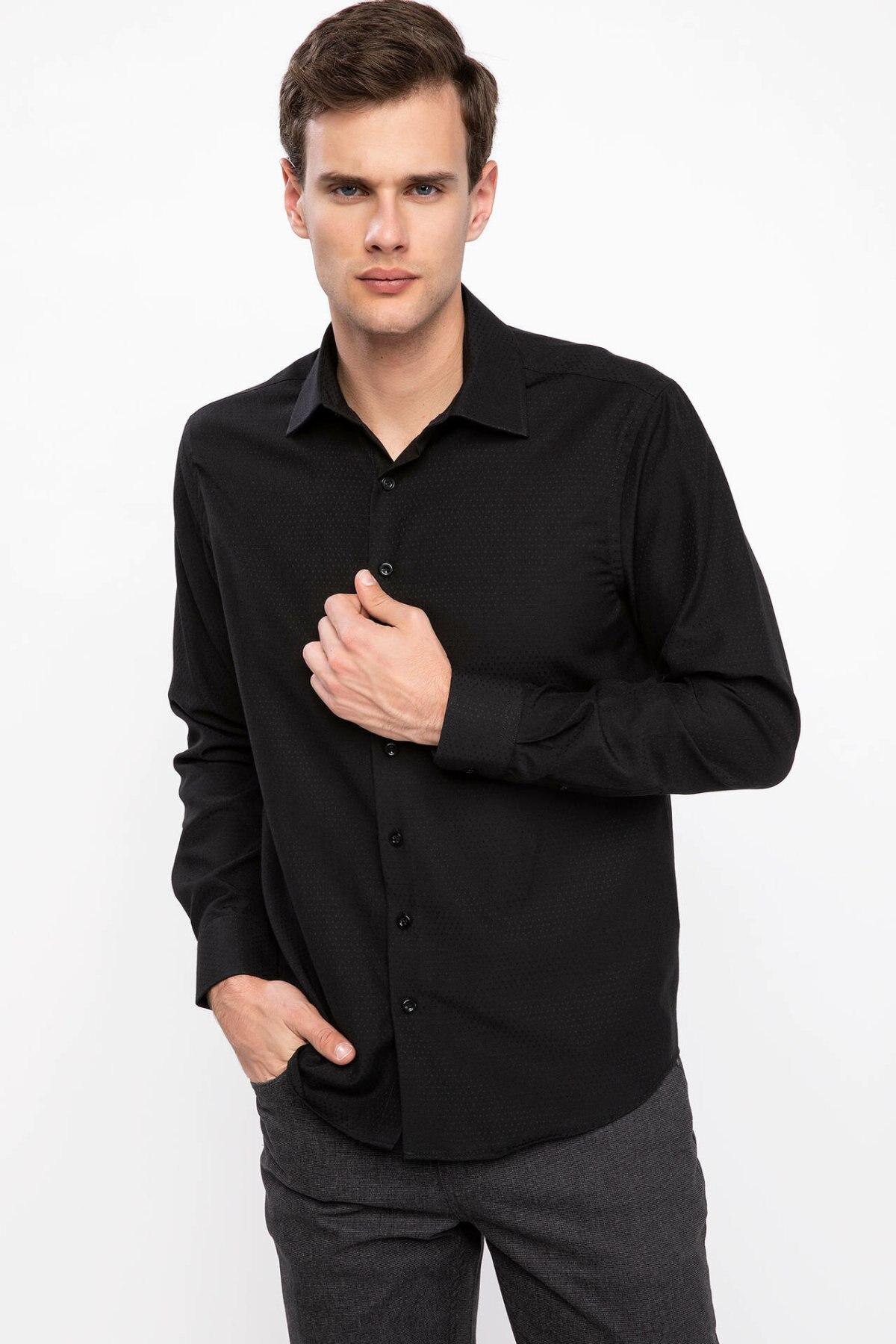 DeFacto Man Long Sleeve Shirt Men Professional White Black Turn-down Collar Shirts Smart Casual Tops For Work-K6466AZ18CW