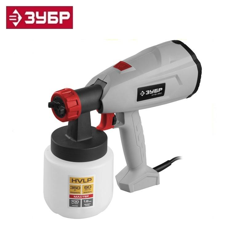 цена на Spray gun (paint sprayer) electric, ZUBR KPE-350, HVLP, 0.8l, spray gun 0-700ml / min, paint viscosity 60 DIN / s, nozzle 1.8mm