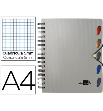 SPIRAL NOTEBOOK LEADERPAPER A4 MICRO EXECUTIVE PLASTIC CAP 100H 80GSM TABLE 5MM 5 SEPARATORS WITH GOMILLA SILVER