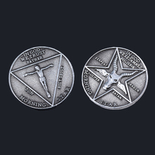 Lucifer Morning Star Satanic Coin Keychains Ancient Silver Badge Specie Key Chain Men Prop Cosplay Accessories With Box Gift morning star