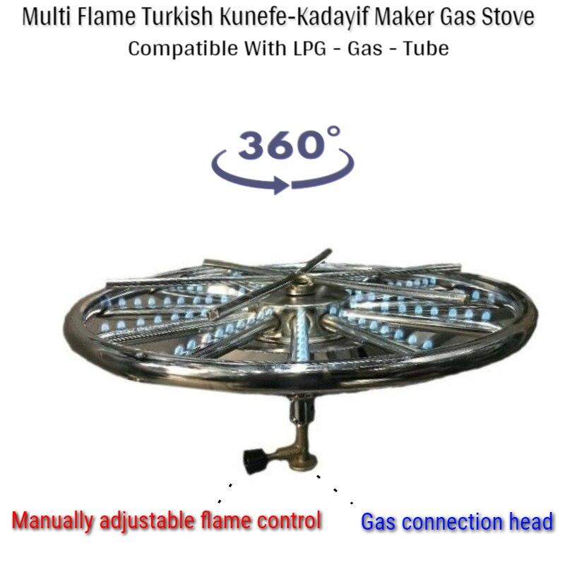 Multi Flame Adjustable Turkish Kunefe Kadayif Stove Roasting Dessert Crep Cooker Stoves 360° Rotating Top Lpg Gas Tube Cookware Handles & Knobs     - title=