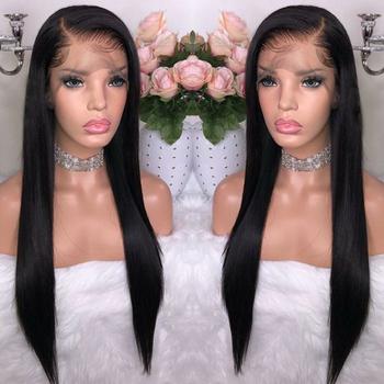 BeauDiva peruwiański 360 koronkowa peruka z przodu peruwiańskie proste włosy peruki 100 ludzki włos peruki z dziecięcymi włosami dla czarnych kobiet tanie i dobre opinie Remy włosy Peruwiański włosów Średnia wielkość Średni brąz Ciemniejszy kolor tylko Francuski koronki Half Machine Made Half Hand Tied