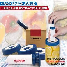 4 Pack Fermentation Lids Airlock With Valve for Wide Mouth Mason Jar lids Cover With Vacuum Pump for Food Storage