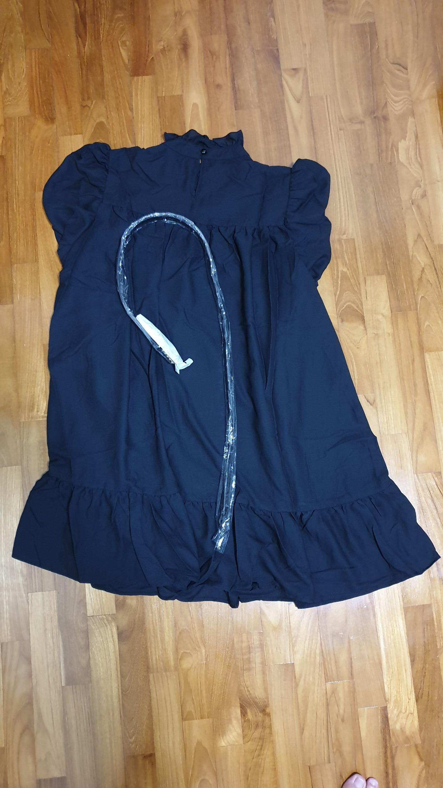 Hot 2019 autumn new fashion women's temperament commuter puff sleeve small high collar natural A word knee Chiffon dress reviews №2 195470