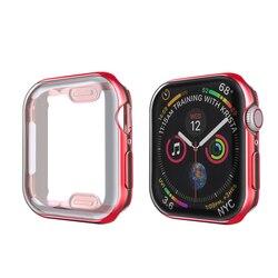360 슬림 시계 커버 애플 시계 케이스 6 SE 5 4 3 2 1 42MM 38MM 소프트 지우기 TPU 화면 보호기 iWatch 4 3 44MM 40MM