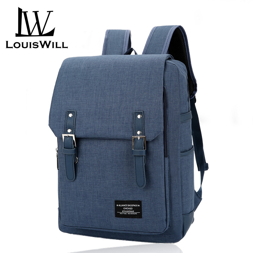 LouisWill Laptop Backpack Travel Bag Beg Wear-resistant Shoulder Backpack Oxford Waterproof Business Computer Bag Backpack