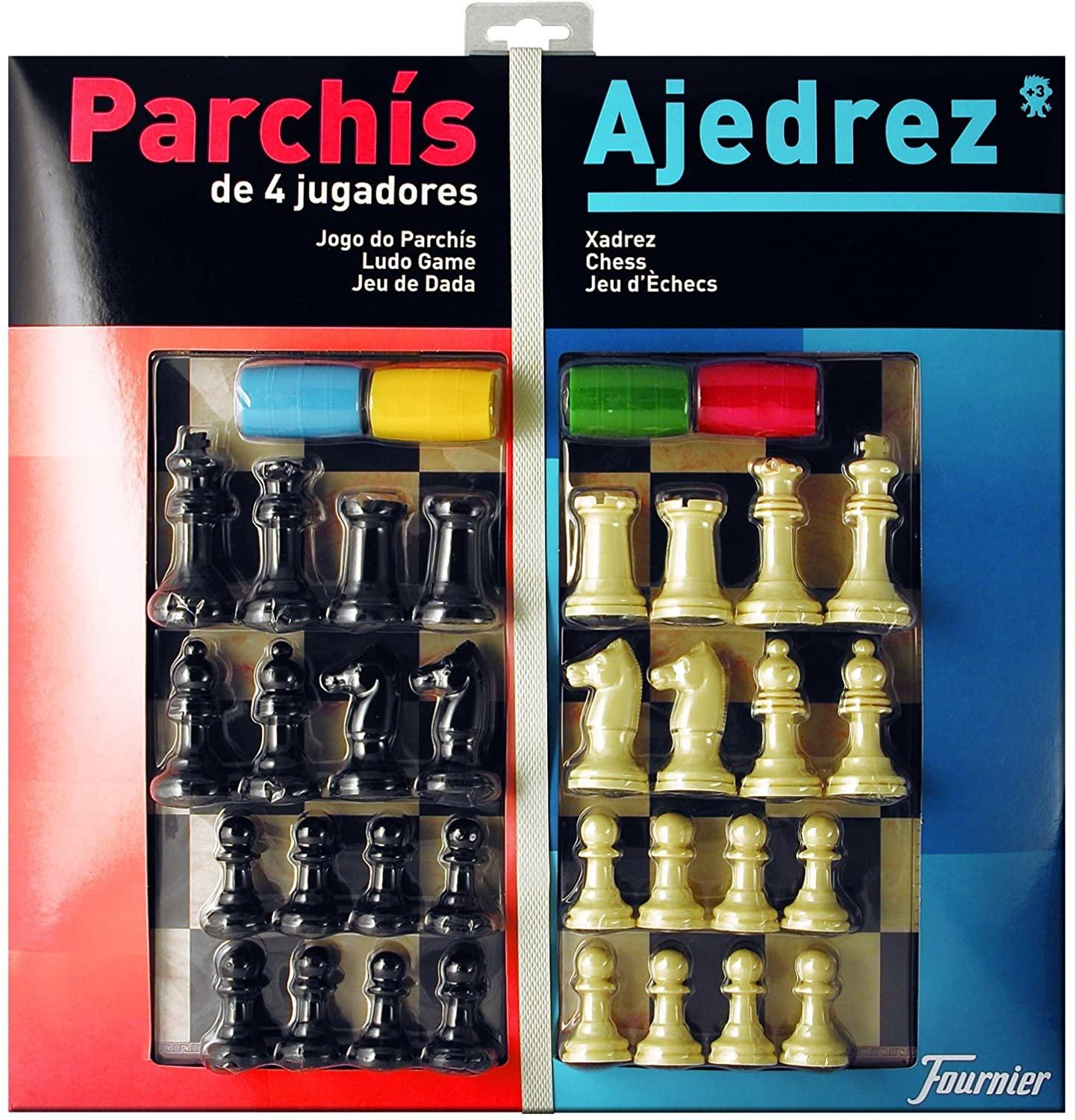 Fournier, large board PARCHÍS + chess and chips, 40X40 CM, for 4 players FOURNIER parchis