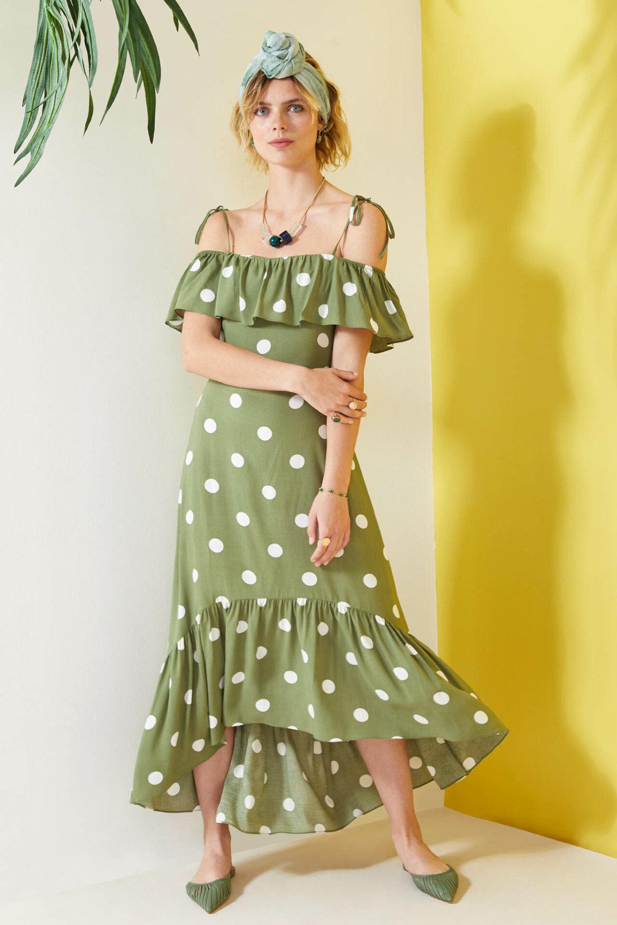 DeFacto Fashion Woman Sling Off-shoulder Print Dress Ladies Bohemia Ruffles Beachwear Sets Female Summer - L8783AZ19HS