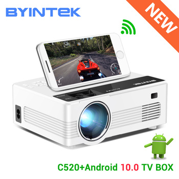 BYINTEK C520 Mini HD Projector(Optional Android 10 TV Box),150inch Home Theater,Portable LED Proyector for Phone 1080P 3D 4K