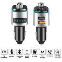 High Quality FM Transmitter Car Kit Bluetooth Handfree Aux Modulator QC3.0 USB Quick Charger Audio MP3 Player With Ambient Light