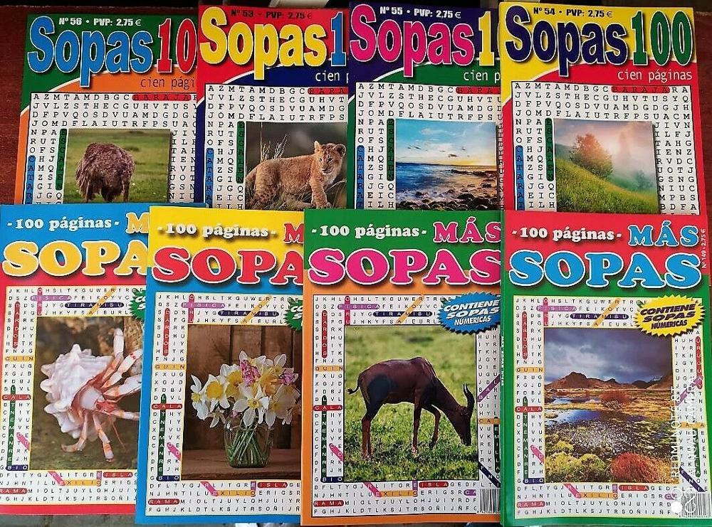 SOPAS DE LETRAS.( Lote De 4 Tomos De 100 Paginas ) CON SOPAS NUMERICAS