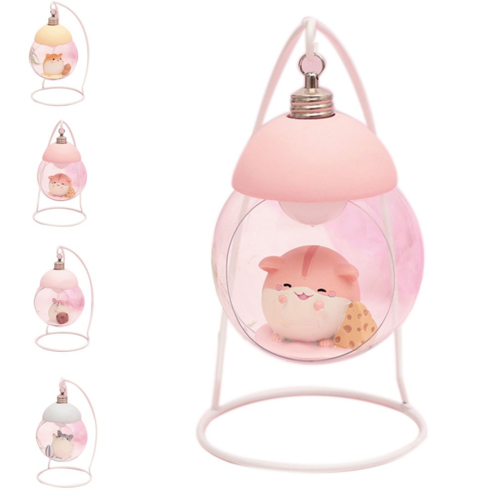 Lamp Hamster Night Light Resin Home Decoration Accessories Cartoon Mouse LED Animals Ornaments For Room Japanese Children Gift 1