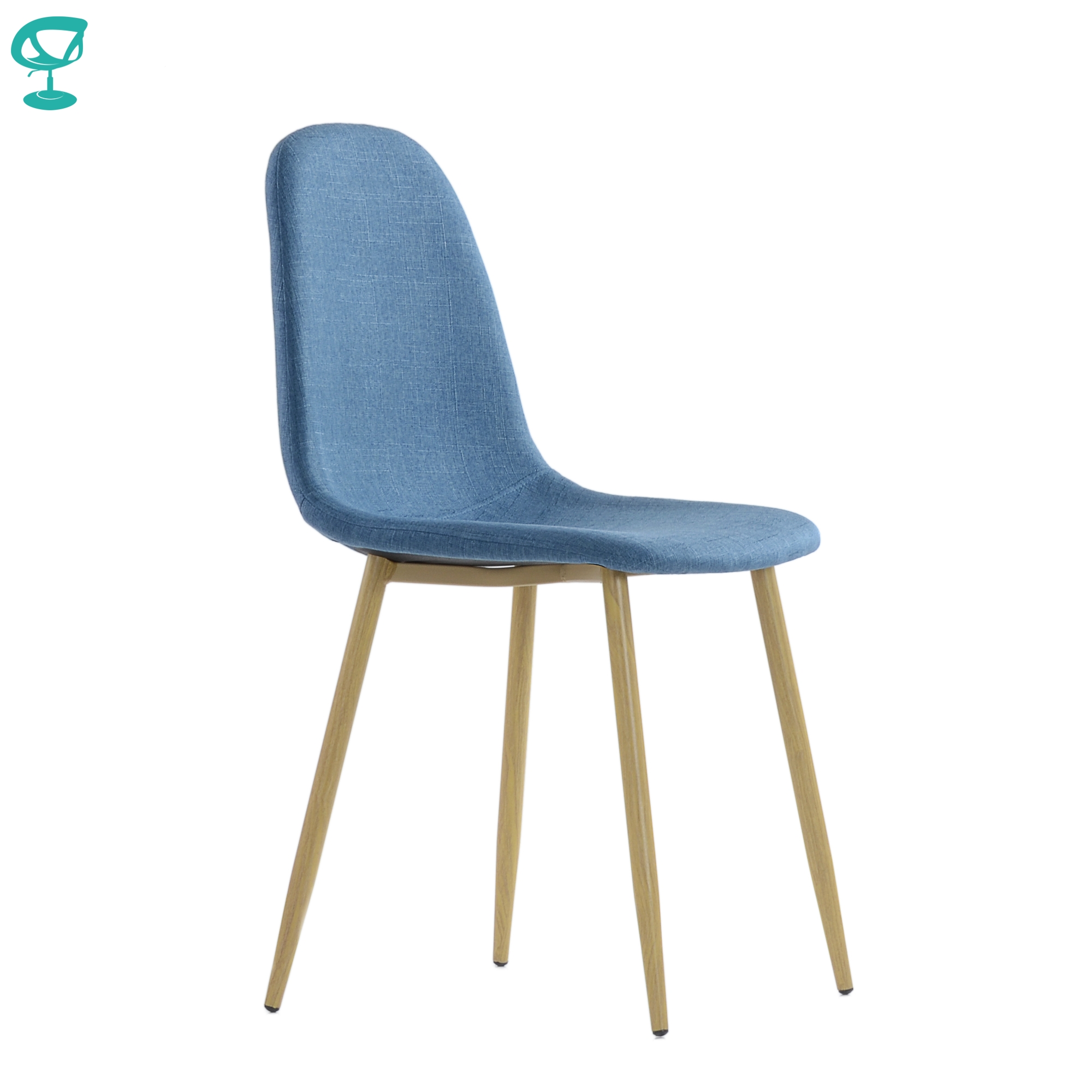 95745 Barneo S-15 Blue Kitchen Chair Legs Metal Seat Fabric Chair For Living Room Chair Dining Table Chair Furniture For Kitchen