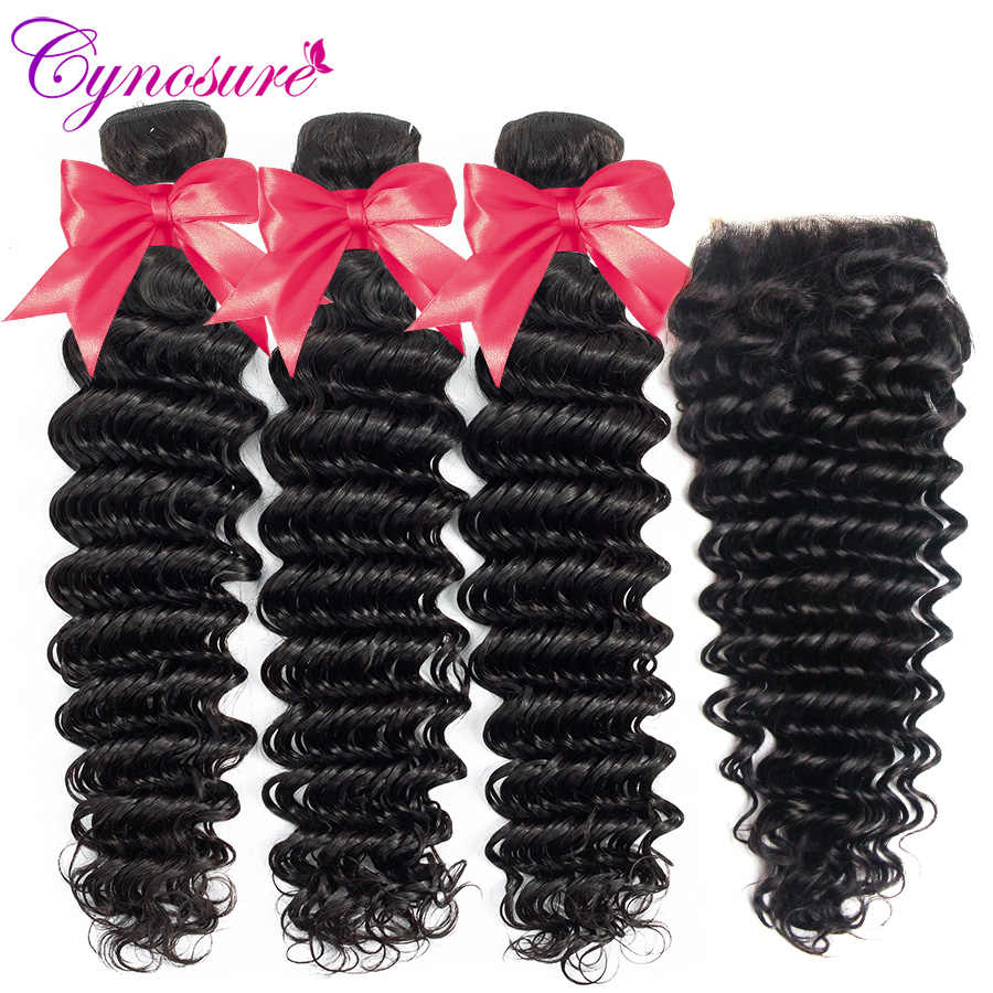 Cynosure Deep Wave Bundles with Closure Double Weft Remy Human Hair 3 Bundles with Closure Brazilian Hair Weave Bundles