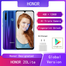 Глобальная версия Huawei Honor 20 Lite 4G + 128G смартфон AI Camera Face Fingerprint Unlock 6,21 дюймHonor мобильный телефон Google Play Andriod хонор телефон