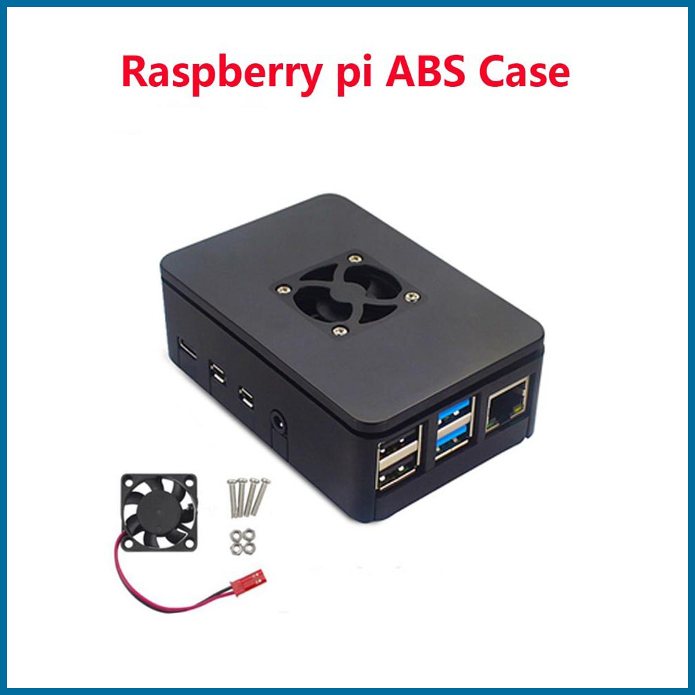 S ROBOT    Raspberry Pi 4 Model B ABS Case Black Plastic Box Enclosure With Cooling Fan Cooler For Raspberry Pi 4B RPI157