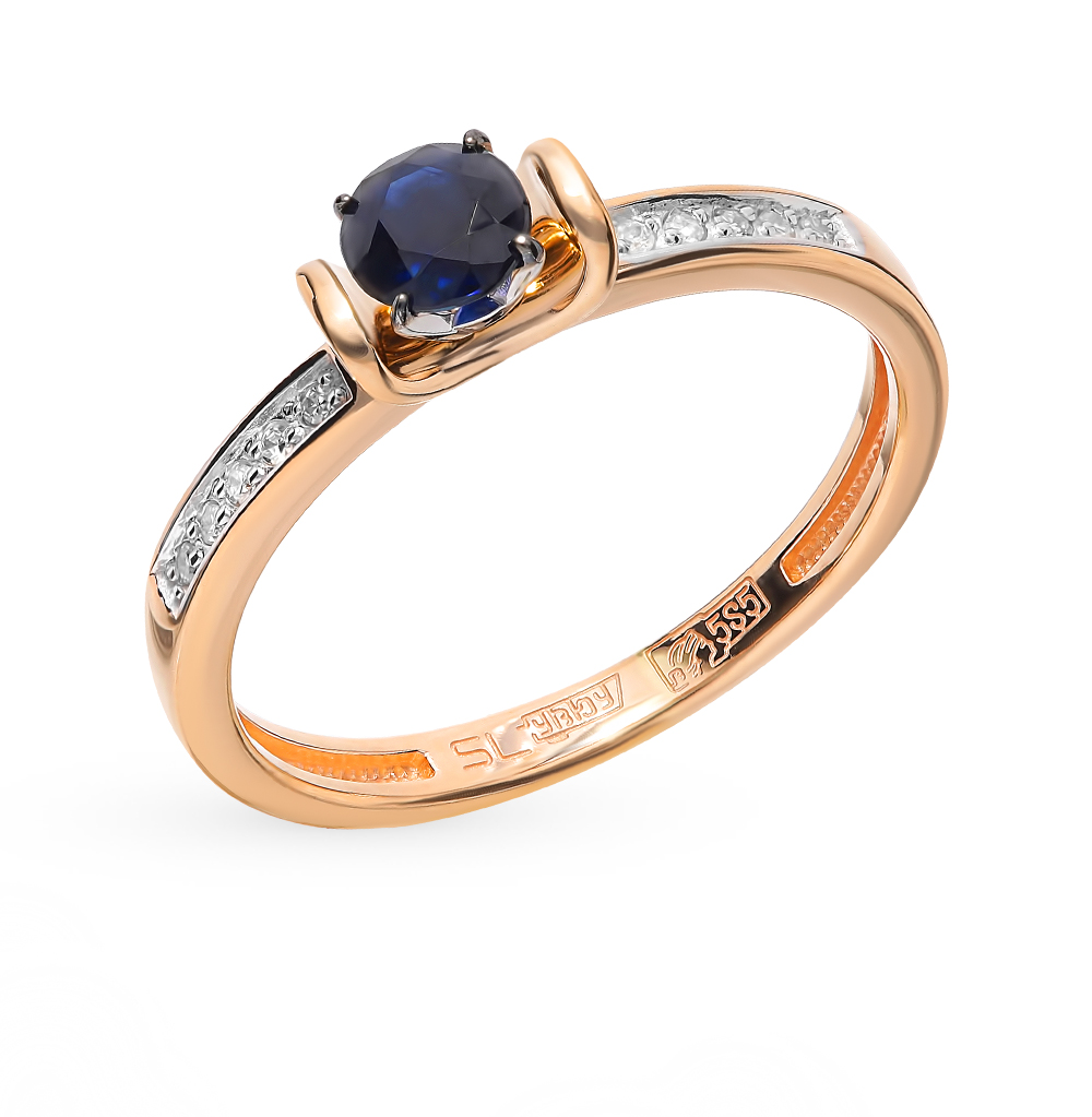 Gold ring with sapphires and diamonds garlic and sapphires