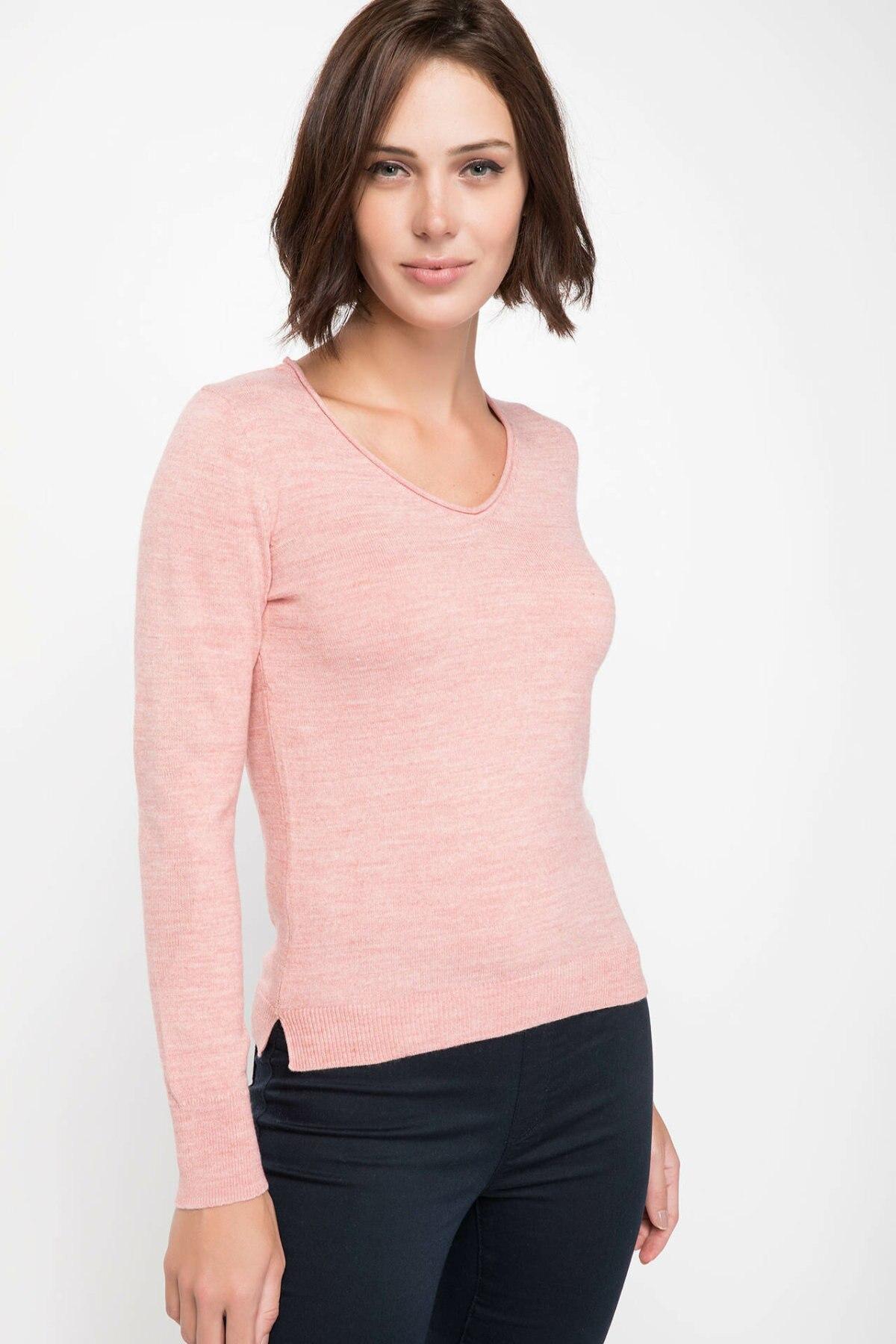 DeFacto Women Fashion V-neck Solid Knitted Warm Comfort Casual Knitted Sweatshirt Female New-F6797AZ18AU-F6797AZ18AU