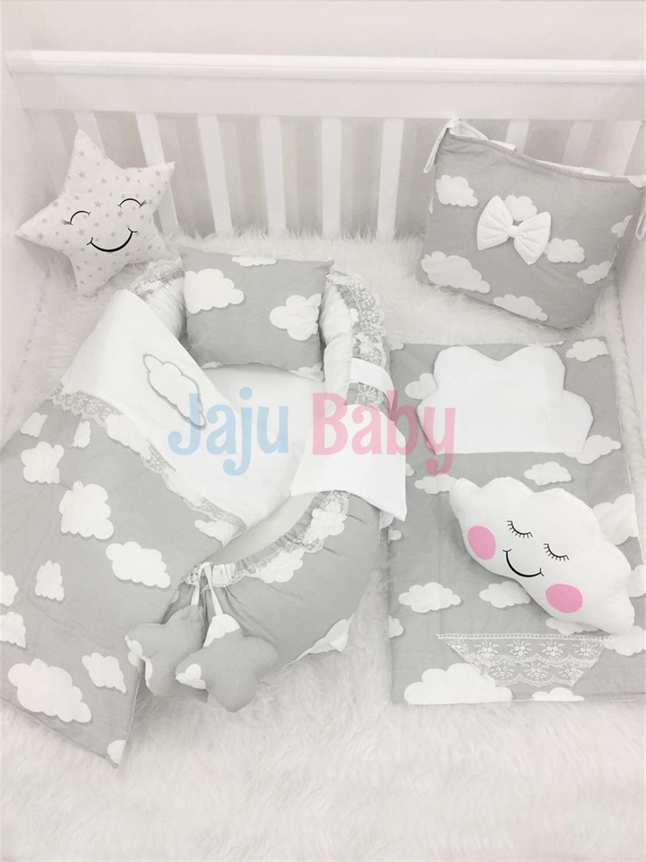 Jaju Baby Babynest набор постельного белья из 8 предметов, серое Облачное ортопедическое гнездо, набор постельных принадлежностей для детской крова