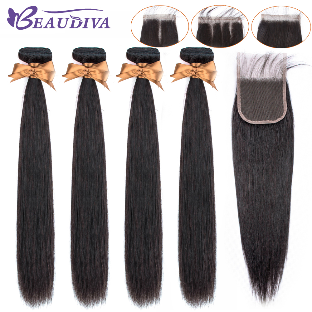 BEAUDIVA Peruvian Straight Hair Bundles With 4*4 Lace Closure Straight Hair Bundles With Closure Human Hair Bundles With Closure