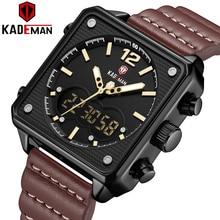 TOP Brand Dual Display 3ATM Tech Luxury Square Original Sport Watch KADEMAN Male Clock Men Wristwatches New Leather Casual