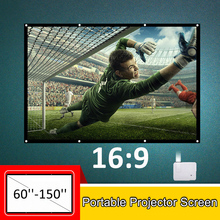 60''-150'' Portable Projector Screen HD 16:9 White Dacron Diagonal Video Projection Screen Foldable Wall Mounted for Home Theate