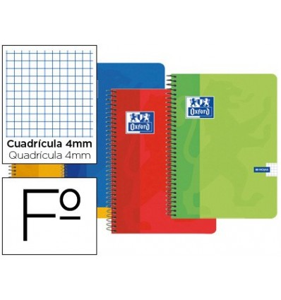 NOTEPAD SPIRAL OXFORD BOXBOARD FOLIO 80 SHEETS PICTURES 4 MM 5 PCs