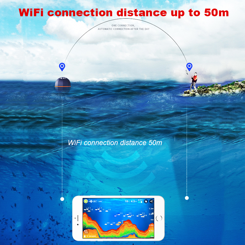 Ling Hui Fisch Finder Tragbare Wireless Sonar 50M/164ft Tiefe See Fisch Erkennen Berufs Fish Finder Mit Zieht fisch lampe