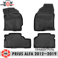 Floor mats for Toyota Prius Alfa 2012~2019 rugs non slip polyurethane dirt protection interior car styling accessories
