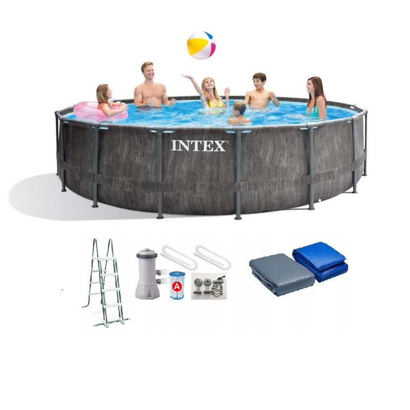 Pool Scaffold Round For Garden Size 457 х122см, Included: Ladder, Decking, Awning, Filter Pump, 6 +, Intex, Item No. 26742
