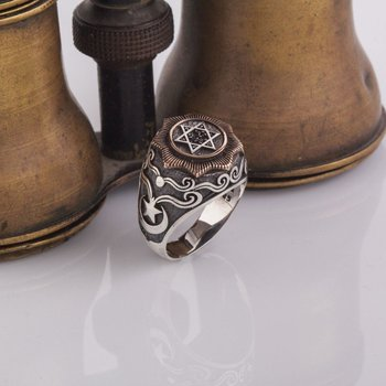 925 Sterling Payitaht Case Seal of Suleiman Patterned Silver Ring Fashion Turkish Premium Quality Handmade Jawelery image