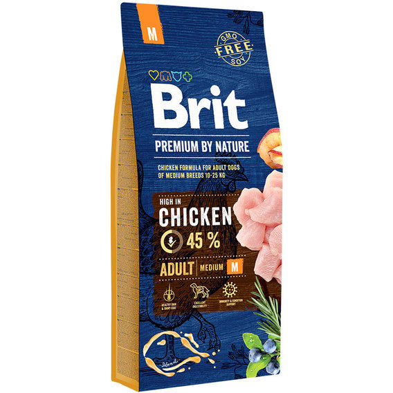 Food Brit Premium By Nature Adult M Adult Dogs Medium Breeds, Chicken, 15 Kg.