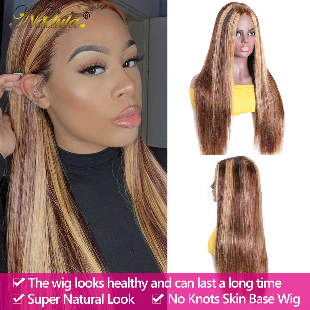 """2x5""""PU Silk Base Closure Wigs Highlight Mix Color Piano Blonde Wig 150% Density Straight  Wigs  Virgin Hair 4"""