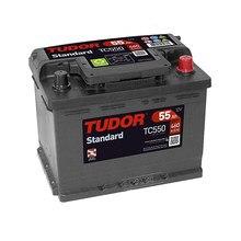 Tudor TC550 Batería de coche -12 V 55Ah 460A (EN) - Positivo a la Derecha - Medidas: 22,4 X 17,5 X 19