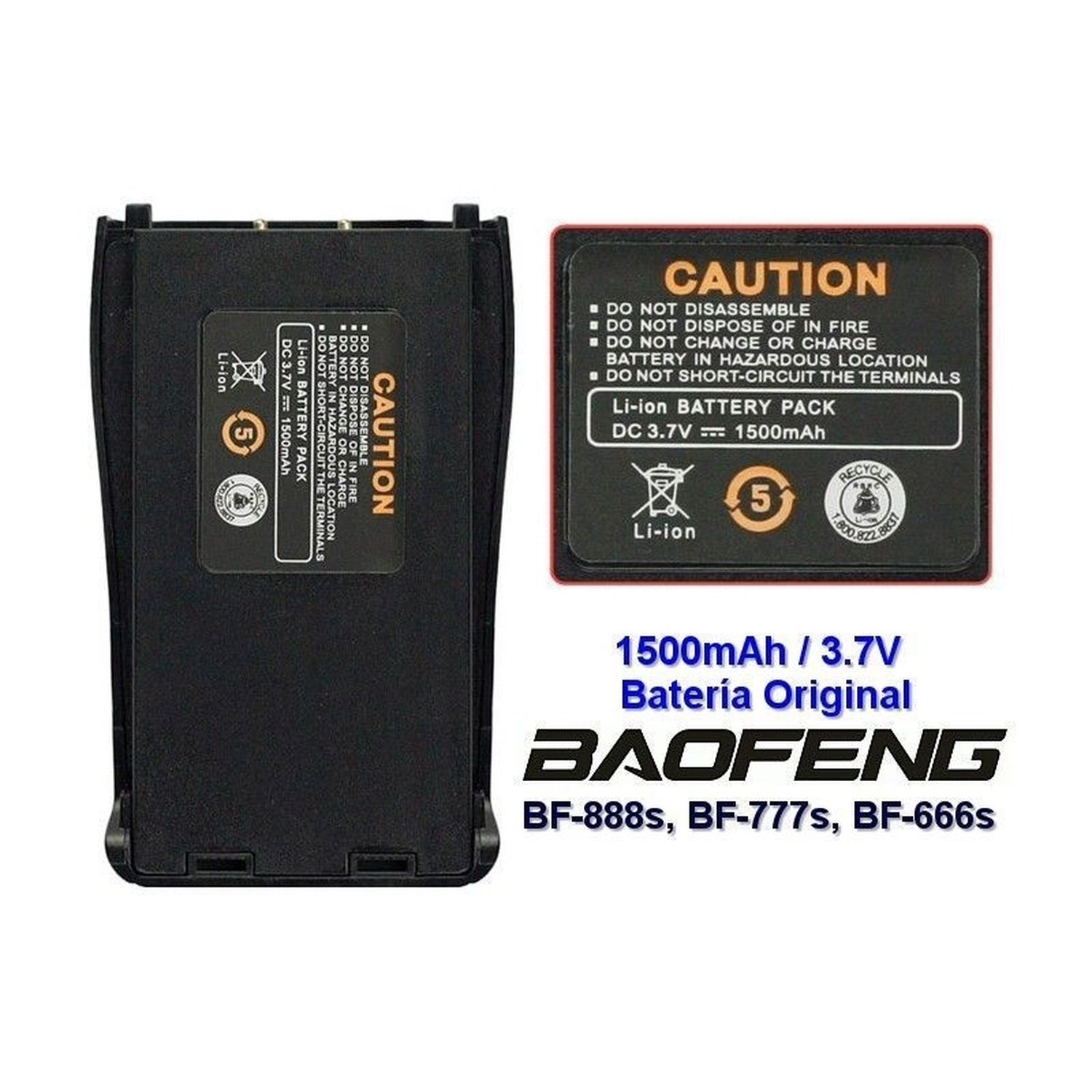 Battery 3,7 V 1500 Mah Compatible With Baofeng BF-888S/777 S/666 S