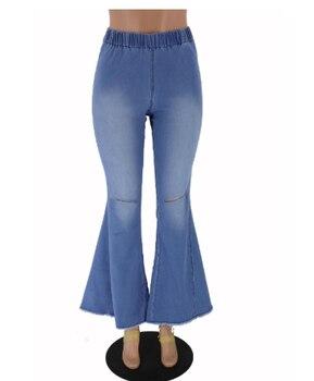 SIL458 Women Fashion Hollow Hole m002 Denim Flare Jeans Boyfriend Jeans Ladies High Waist bell bottom jeans Pants Autumn