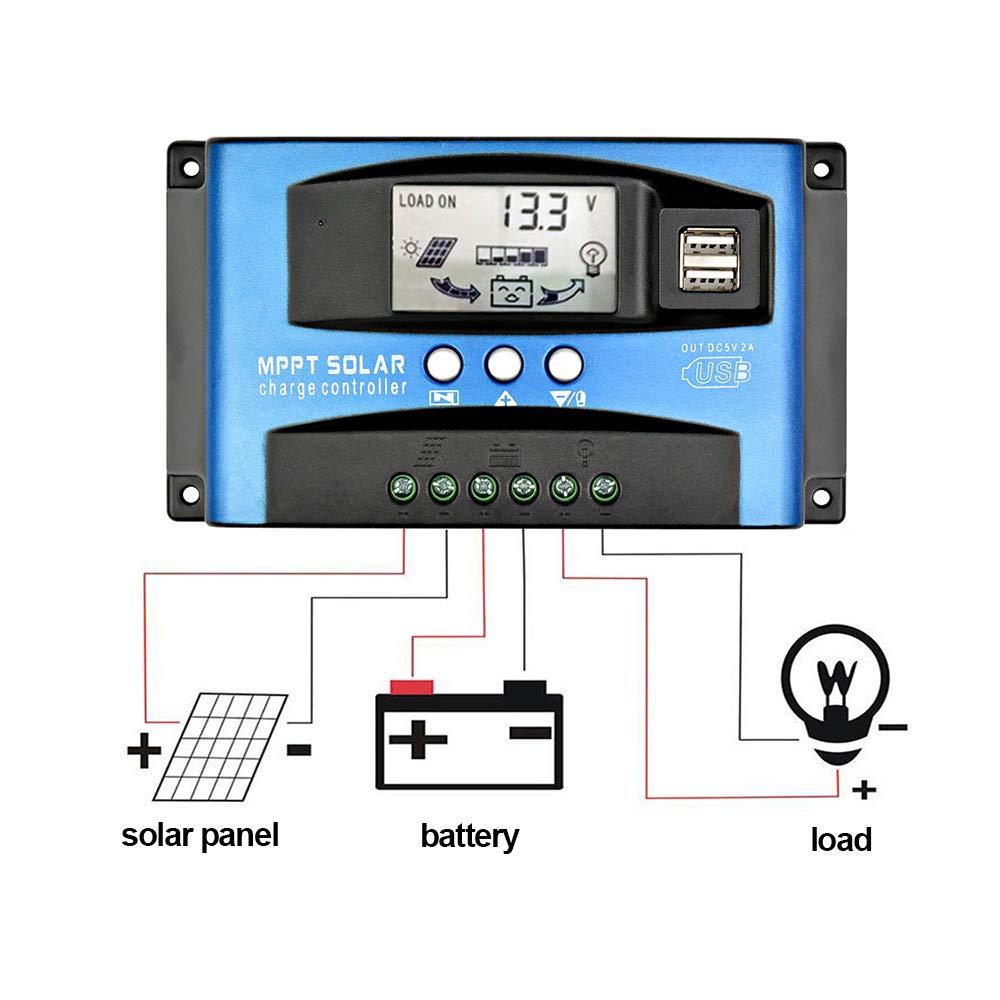 1 pièces 40A/60A/100A MPPT régulateur de Charge de régulateur de panneau solaire 12 V/24 V Auto Focus suivi AU