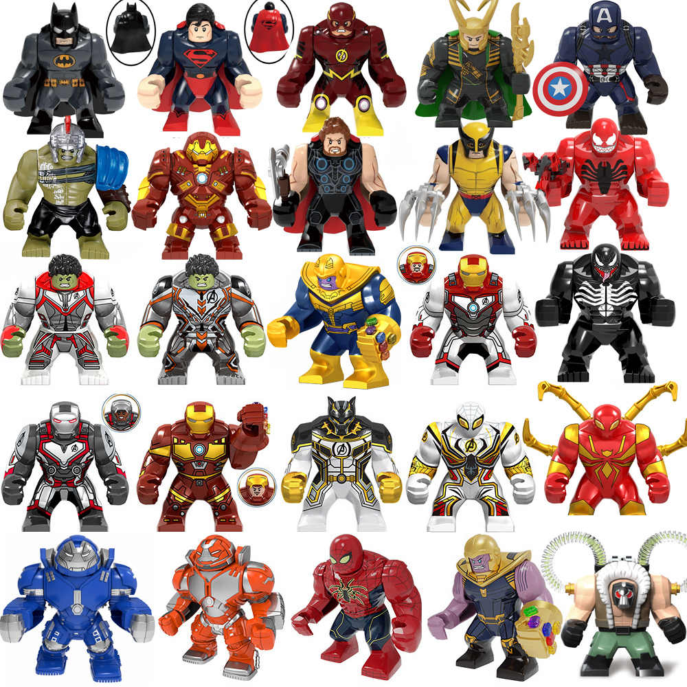 Marvel Avengers Spiderman Hulks Thanos Iron Man Batman Venom Wolverines Building Blocks figure set giocattoli per bambini regali