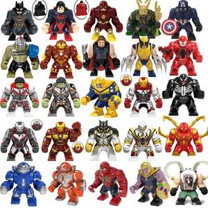 Marvel Avengers Spiderman Hulks Thanos Iron Man Batman Venom Wolverines Building Blocks figure set giocattoli per bambini regali(China)