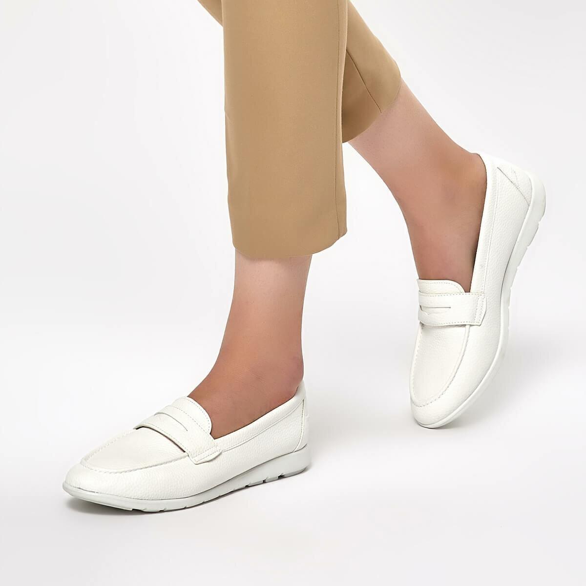 FLO 91.313037.Z White Women Loafer Shoes Polaris