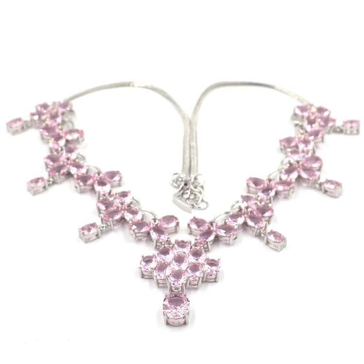40x28mm Große Schwere 44,4g Rosa Kunzit Hochzeit frau Silber Halskette 18,5 zoll-in Halsketten aus Schmuck und Accessoires bei  Gruppe 2