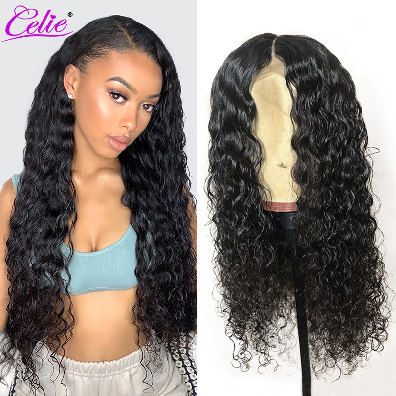 13x6 Water Wave Wig Lace Front Human Hair Wigs Pre Plucked Brazilian 360 Lace Frontal Wig 250 Density Remy Human Hair Wig Celie