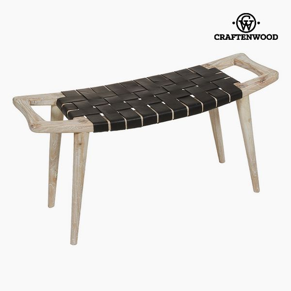 Bench Mindi Wood Leather (100 X 35 X 45 Cm) - Let's Deco Collection By Craftenwood